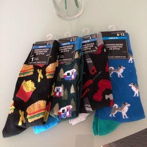Men's socks fries burgers camping tools dogs NEW